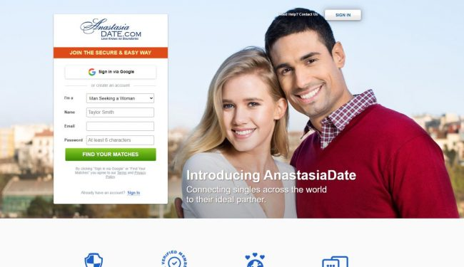 Anastasia Date Website Front page